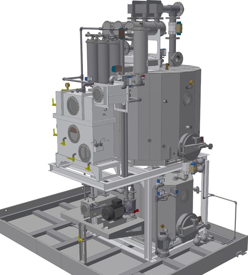 Distillation process for solvent machines